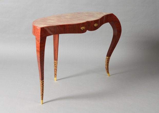 2 dressing room table pink ivory wood, yannick chastang 2014